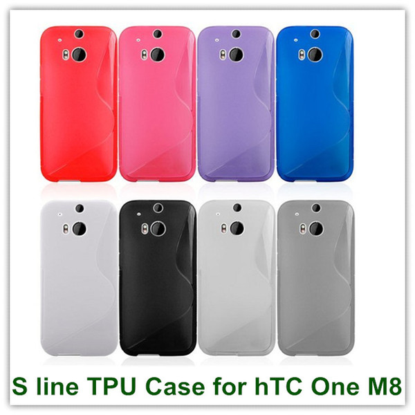 10PCS Soft S Line Gel TPU Style Back Skin Covers Case for hTC One 2 M8 High Quality Free Shipping