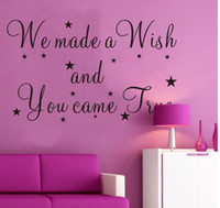 Wholesale Made Wish Sticker - Free Shipping We Made a Wish Vinyl Lettering Sticker and Stars Removable Wall Quote Decals
