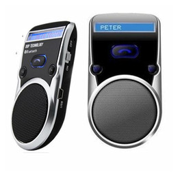 Wholesale Car Bluetooth Solar Powered - Solar Powered Bluetooth Car Kit Call Handsfree speakerphone Car Kit LCD Display