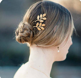 Wholesale Elegant Hair Fashion - 2014 hotest fashion elegant gold plated alloy metal leaf hairpin hair clips wedding Hiar Jewelry accessories for women