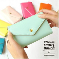 Wholesale Crown Pouch - lady's Fashion Lovely pu leather Crown Smart Pouch Phone Bags For Samsung Galaxy S3 S4 iphone 4 4S 5 5G Card Holder free shipping
