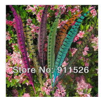 Wholesale Long Natural Feather Extension - Free shipping 100pcs lot long 30-35cm natural DIY pheasant tail feather feathers Hair extension centerpieces wedding
