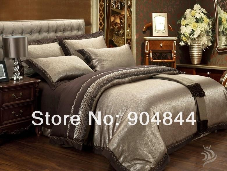 Gold Noble Silk King Size Bedding Set New Arrival Comforter Bedding Sets  Jacquard Satin 4pc Luxury Bed Sheet/Bed Cover
