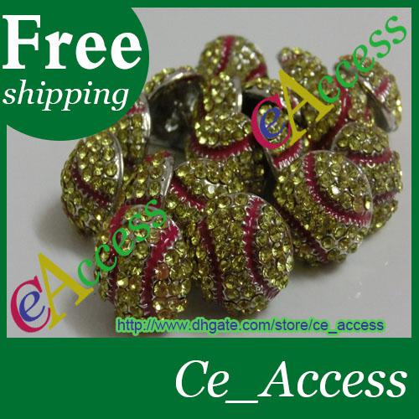 free shipping fee usa softball yellow red stitching seam crystal red stitching earrings stud
