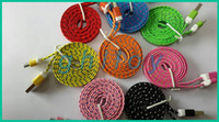 Wholesale Double Color Data Cable 1m - 1M Noodle Flat Micro USB Charge Cable Double Colorful Sync Data Transfer and Charging Braid Woven Fabric Wire USB Charger 500pcs lot