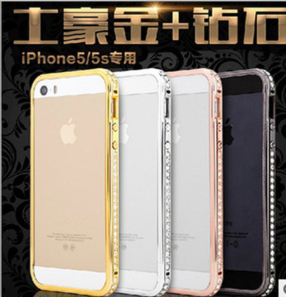 Aluminum Deluxe Bling-bling Metal Bling Diamond Luxury Hard Bumper Frame Case crystal for iPhone 5 5S 4 4S With Retail Package Free shipping