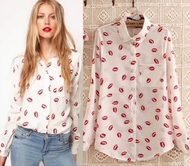 7d2ac881902e4 2019 2014 Spring New Red Lip Flower Printed Ladies Blouses Women Blouse Red  Lip Print Blouses Chiffon Long Sleeve Blouses Tops 3 SizeS M L From  Vivian5168