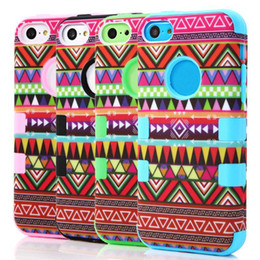 Wholesale Iphone 5c Silicone - S5Q Hybrid High Impact Tribal Silicone Hard Back Case Cover Skin For iPhone 5C AAACZL