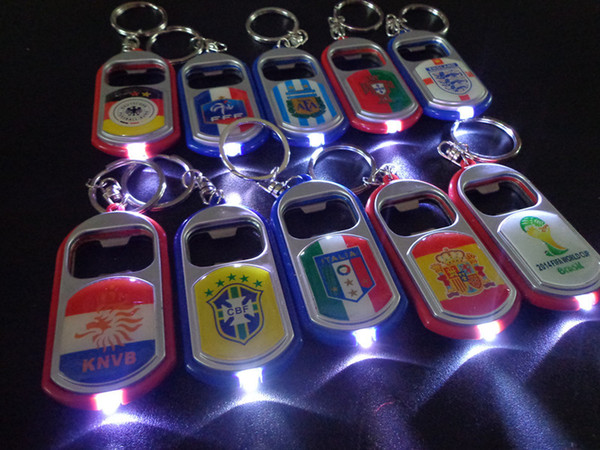 10pcs/lot The World Cup souvenirs LED Flashlight Torch Keychain With Beer Bottle Opener Key Ring Chain Keyring