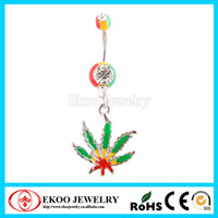 Wholesale Pot Leaf Body Jewelry - Rasta Pot Leaf Jamaican Dangling Navel Piercing Gem Belly Ring Body Jewelry, New Style Free Shipping