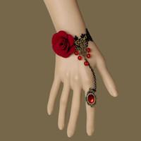 "Wholesale Houston Jewelry - Black Lace Vampire Slave Bracelet with Fabric Flower Gothic & Retro Style Costume Jewelry Adjustable(approx 6"" to 8"") Whitney Houston"
