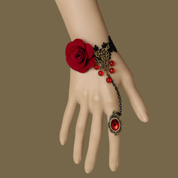 """Wholesale Vampire Bracelet Charms - Black Lace Vampire Slave Bracelet with Fabric Flower Gothic & Retro Style Costume Jewelry Adjustable(approx 6"""" to 8"""") Whitney Houston"""