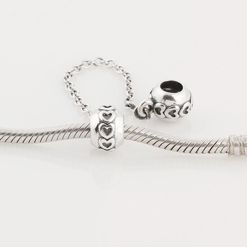 أصيلة 925 فضة الحب اتصال سلسلة سحر يناسب الأوروبي باندورا أساور الخرزة مجوهرات