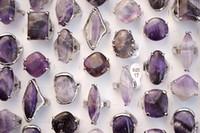ingrosso anelli in pietra ametista-Stili misti Oversize Lots Natural Amethyst Stones Argento Tone Band Rings Gioielli di moda R0244