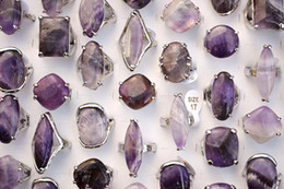 Wholesale Amethyst Fashion Rings - Oversize Mixed Styles Lots Natural Amethyst Stones Silver Tone Band Rings Fashion Jewelry R0244
