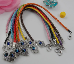 Wholesale Charm Hand Chain Bracelets - Wholesale - Hot 100Pcs Mixed Leatheroid Braided Fatima Hand Kabbalah Hamsa Evil Eye Charms Bracelets