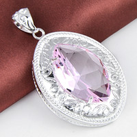 Miglior prezzo Wholesle 8 pezzi Fashion-forward Shiny rosa Topazio Crystal Gems 925 Sterling Silver USA Israele Wedding Engagement Pendenti Matrimoni
