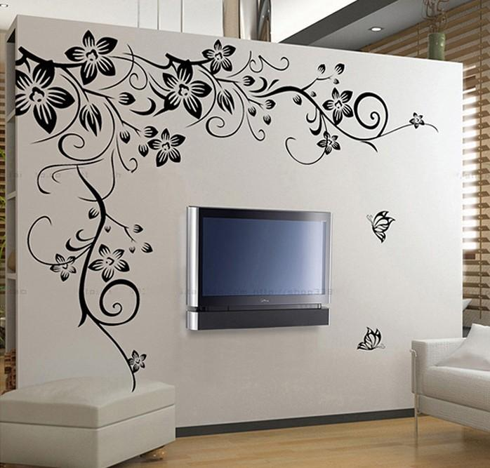 Home Decoration Beautiful Flower Vinyl Wall Paper Decal Art Sticker Living  Room Bedroom Sofa Tv Background Wallpaper Paste Star Wall Stickers Stars  Wall ...