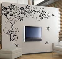 tv arka planı ev toptan satış-Ev dekorasyon Güzel Çiçek Vinil Duvar Kağıdı Çıkartması Art Sticker Oturma odası yatak odası kanepe TV arka plan duvar kağıdı yapıştırm ...
