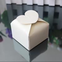 caixas de jóias rosa roxo venda por atacado-100 pcs Coração Caixa Quadrada Favor Do Casamento Caixa de Jóias de Presente Branco / Rosa / Roxo / Marfim