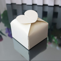 joyero corazon blanco al por mayor-100 piezas Caja cuadrada de corazón Caja de regalo de boda Cajas de joyería Blanco / Rosa / Púrpura / Marfil