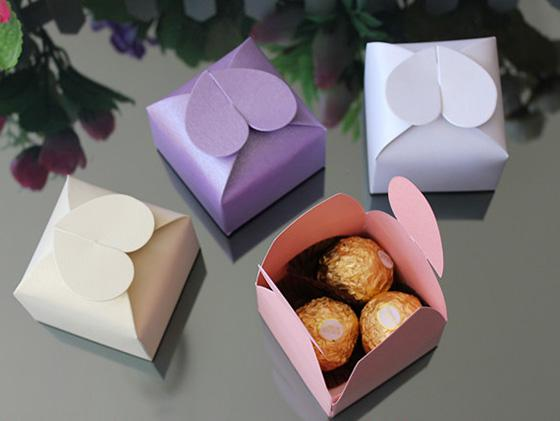 boîte carrée cadeau de mariage boîte cadeau bijoux boîtes blanc / rose / violet / ivoire
