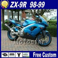 kawasaki zx9r özel fuar takımları toptan satış-Özel ninja Kawasaki ZX-9R 98 ZX9R için motosiklet kaporta 99 mavi siyah plastik kaporta marangozluk kiti ZX 9R 1998 1999 ile 7 vites fr10