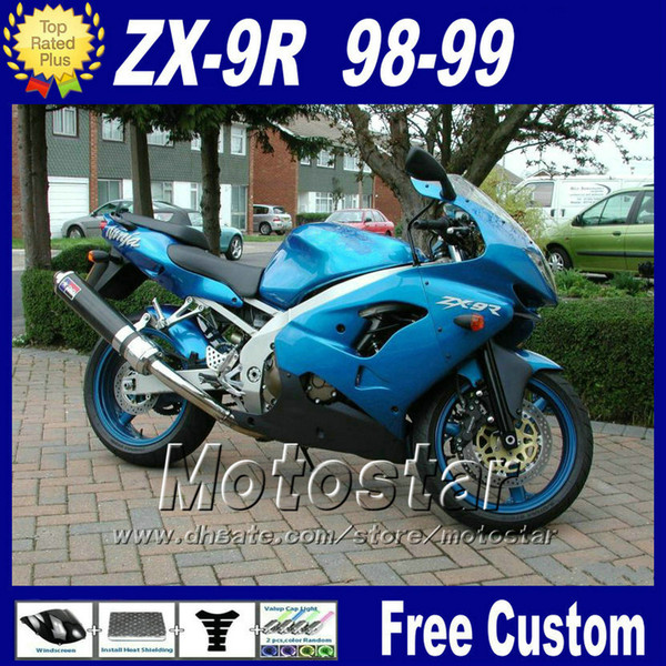 Custom Motorrad Verkleidung für Ninja Kawasaki ZX-9R 98 ZX9R 99 blau schwarz Kunststoff Karosserie Verkleidungen Kit ZX 9R 1998 1999 mit 7Geschenken fr10