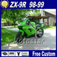 Wholesale Green Kit Fairing - Popular fairing kit for Ninja Kawasaki ZX 9R 1998 1999 green black fairings motorcycle parts ZX-9R 98 ZX9R 99 with 7 gifts fr11