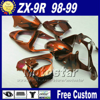 Wholesale Kawasaki Zx9r Black - Fairing bodywork set for ZX 9R 1998 1999 Kawasaki Ninja ZX-9R 98 ZX9R 99 brown black freeship fairings kit with 7 gifts fr18