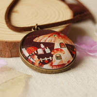 Wholesale Red Mushroom Pendant - Fairy Red Mushroom House Pendant Necklace Leather Cord Long Necklaces Fashion xl031