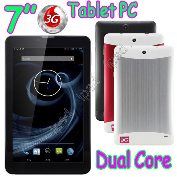 "7"" 3G Phablet Phone Calling Tablet PC MTK6572 Dual Core Android 4.2 Capacitive Touch WCDMA GSM Bluetooth Camera Dual Sim Card Free Shipping"