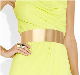 Wholesale Mirror Sheets - New Arrival Women Bright Iron Sheet Full Metal Belt Girdles Metallic Bling Gold Mirror Waist Chain Obi Corset