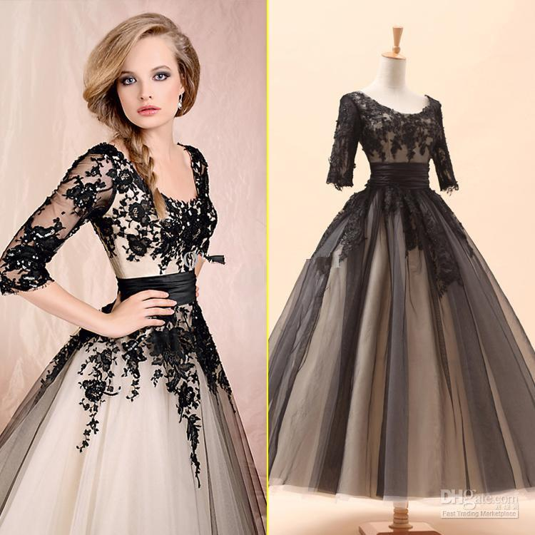 Black And White Wedding Gowns: 2014 Sery Black 3 4 Long Sleeves Lace Tea Length Ball Gown