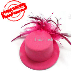 "Wholesale Wholesale Mini Hats Feathers - Mini Top Hat, Hairclip Fascinator W  feather, 5"" in diameter, headpiece, 6 Colors, 12pcs lot, Free"