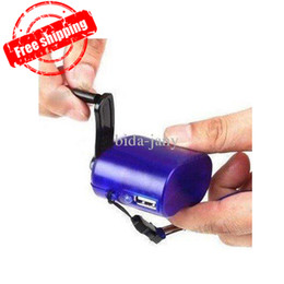 Wholesale Dynamo Hand Crank Power - Hand Power Dynamo Hand Crank USB Cell Phone Emergency Charger mini hand charger D035