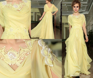 2014 Retro Fashion Elegant A-line Jewel Light Yellow organza Lace Dresses Open back Half Sleeve Fold Ruffle Floor length prom Dresses on Sale
