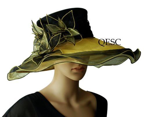 Robe de mariée nuptiale à bord large Chapeau d'organza sinamay fascinator pour derby, noir, rose, marine, lilas, LIVRAISON GRATUITE PAR EMS,