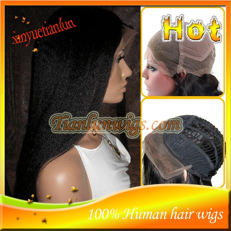 #1B Yaki Straight Full Lace Wig Peruvian Virgin Human Hair Lace Front Wigs For Black Women With Baby Hair Bleached Knots !!!