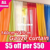 Wholesale Ready Made Curtain Window - 140cm*245cm 20color 2pcs lot Ready Made home decor Luxury Europe gauze curtain sheer Tulle Voile window curtains for living room