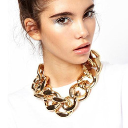 Wholesale Chunky Gold Chain Bracelets - Sexy Women Classical Gold Or Silver Big Chunky Chains Link Necklace Or Bracelet