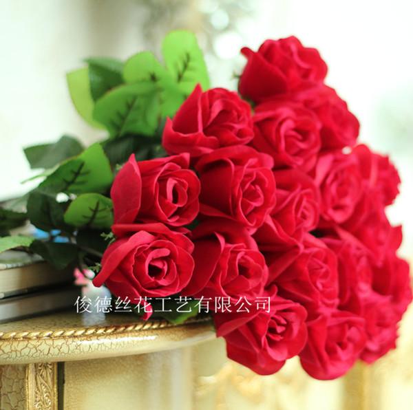 Único veludo vermelho rosa flores artificiais atacado amante