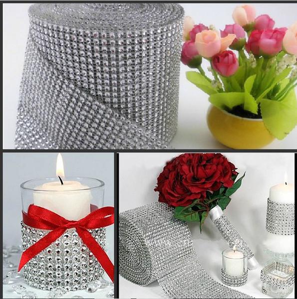 top popular 10 Yds Silver Wedding Bouquet Candles Accessories DIAMOND MESH WRAP ROLL SPARKLE RHINESTONE Crystal Platinum Ribbon Decoration Supplies 2019