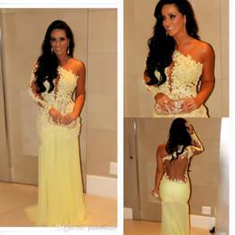 Wholesale Silver One Shoulder Oscar Dress - 2014 Oscar Yellow Mermaid Lace Long Sleeve Prom Dresses Sheer Chiffon Evening Gowns Long Celebrity Red Carpet Dresses One Shoulder Neckline