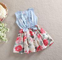 Wholesale Denim Splicing Chiffon Dress - Summer Girl Wear Kid Clothing Korean Denim Dresses Chiffon Flower Printing Splicing Dress Girl Cotton Princess Dress SY
