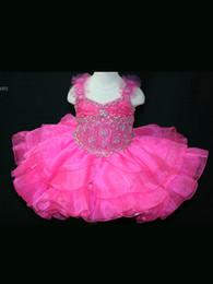 $enCountryForm.capitalKeyWord Australia - Wholesale Cute Girls Pageant Dresses Pink Organza Free Shipping Spaghetti Straps Zipper Back Beading Bodice Bow Tiered Skirt TUTU Dresses