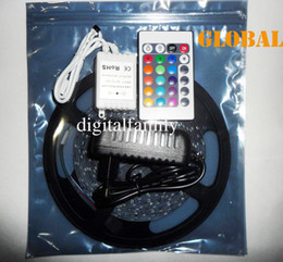 Wholesale power supply prices - Low Price 5M RGB Led Strip Light 3528 SMD Flexible Waterproof IP65 300 LEDs + 24 Keys IR Remote + 2A Power Supply Stage Party Christmas gift