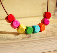 New Handmade Colorful Good Wood Necklace Leather Cord Neckla...