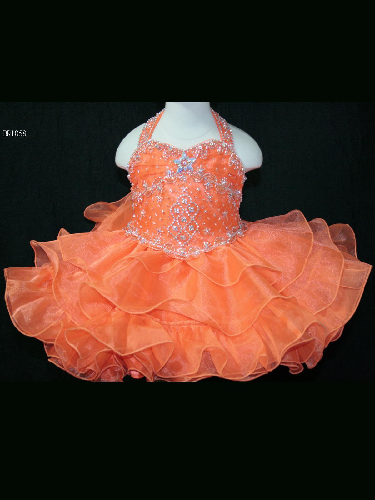 Wholesale Charming Orange Girls Pageant Dresses Beading Bodice Halter Neck Zipper Back Little Girls Dresses Tiered Ruffle Skirt Pleated