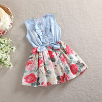 Wholesale Denim Lace Girls Kids - 2015 Kids Girls soft denim Floral Dresses Baby girl princess tutu Ruffle Bow dress babies clothes children's korean clothing